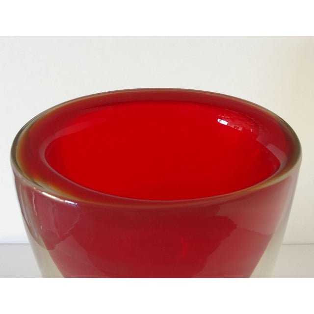 Mid 20th Century Red Sommerso Murano Glass Vase by Romano Dona For Sale - Image 5 of 8