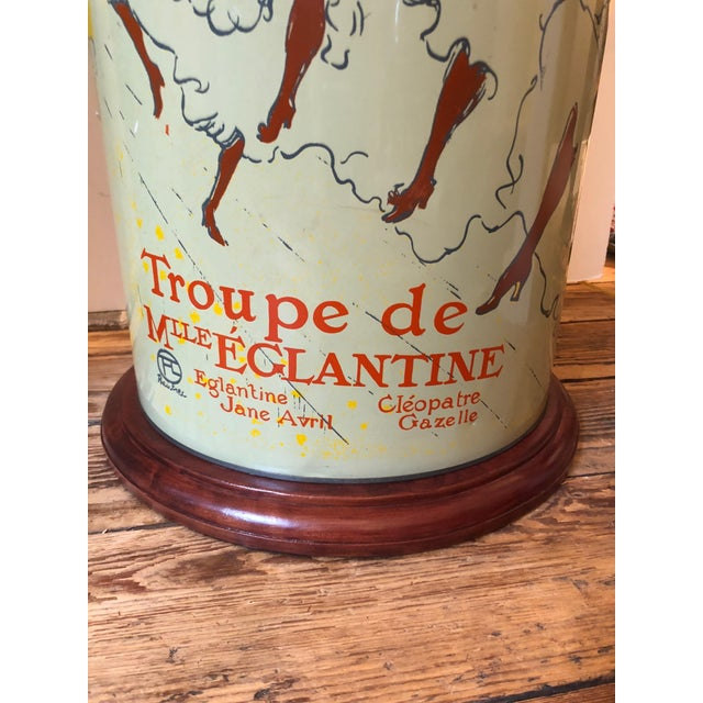 Pair of Custom Tin Canister Lamps a La Toulouse Lautrec For Sale - Image 9 of 11