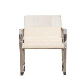 Fletcher Cream Hair on Leather Dining Chair, Accent Modern Furniture, Living Room, Bedroom, Stainless Steel For Sale