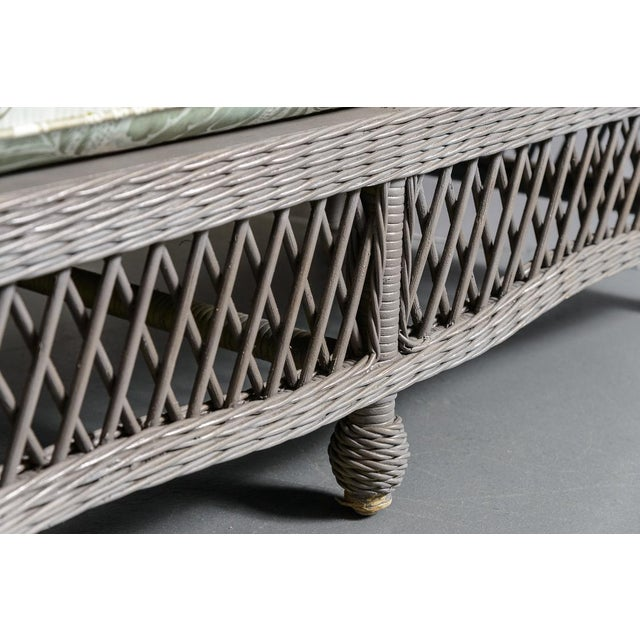 1990s Vintage High Back Wicker Loveseat/Settee in Grey For Sale - Image 5 of 12