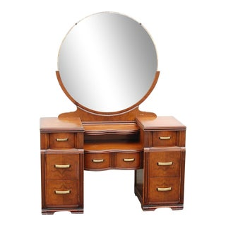 1940s Art Deco Wooden Vanity with Round Mirror For Sale