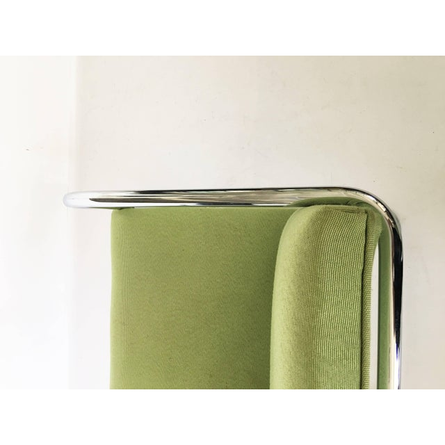 Silver Pair of Brno Chairs in Green For Sale - Image 8 of 9