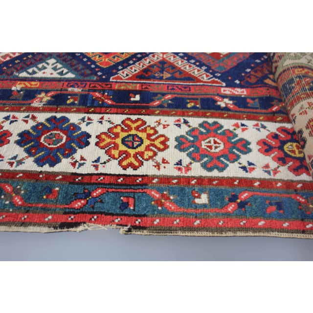 Brick Red Late 19th Century Antique Hand-Knotted Talish Kazak Rug - 3′4″ × 8′4″ For Sale - Image 8 of 12