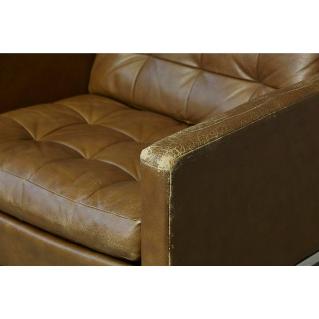 Silver Florence Knoll Tan Leather Button Tufted Lounge Chair, 1970s For Sale - Image 8 of 12