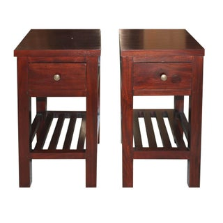 Single Drawer Mahogany Nightstands - A Pair