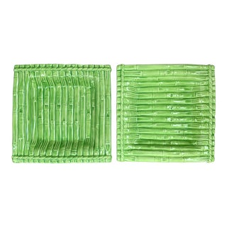 1960's Green Bamboo Ceramic Square Serving Dishes- a Pair For Sale