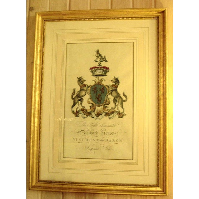 Traditional Pair of 18th Century Hand-colored Armorial Engravings For Sale - Image 3 of 4