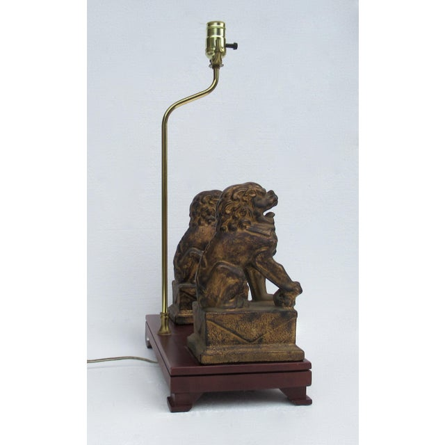 1970s C.1970s-80s Vintage Asian, Chinoiserie-Style, Boho Chic Gilt Foo Dog Lamp For Sale - Image 5 of 13
