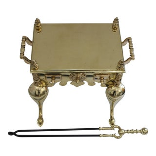 19c Fireplace Accesories - Brass Tea Kettle Heater With Its Log Tool For Sale