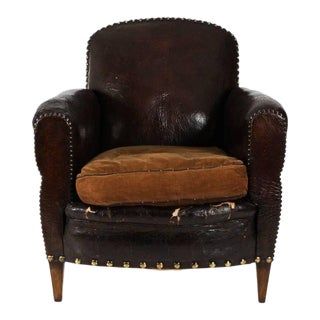 Antique English Club Chair in Whiskey Leather For Sale