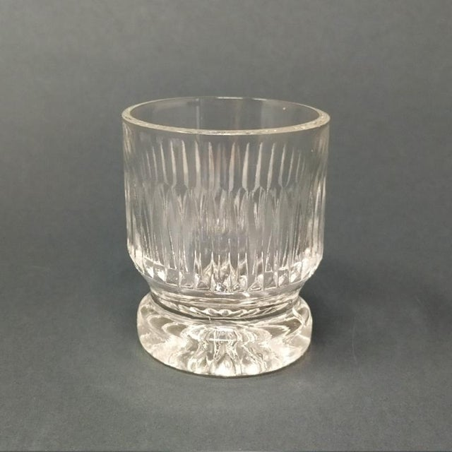 1950 Italian Mid Century Vintage Crystal Decanter with 4 Glasses For Sale - Image 4 of 9