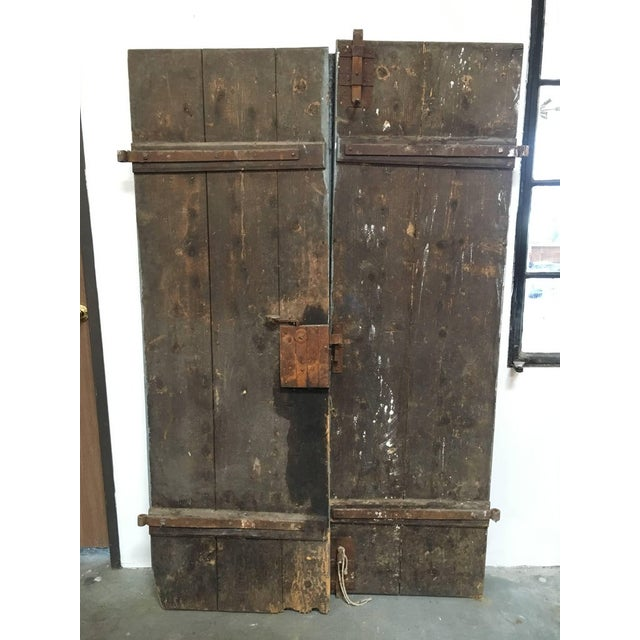1930's Antique French Painted Farm Doors-a Pair For Sale In Los Angeles - Image 6 of 8