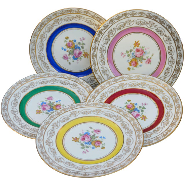 Gold Vintage Colorful Porcelain Plates- S/5 For Sale - Image 8 of 8