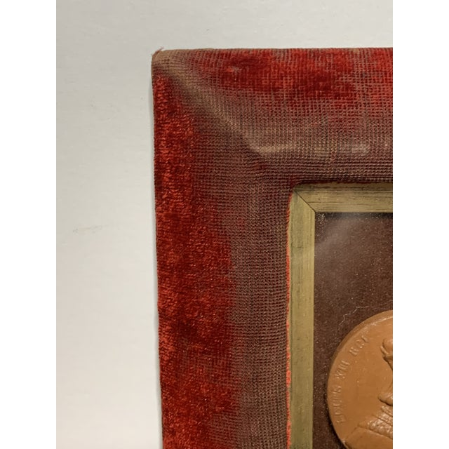 Textile Early 19th Century Arrangement of Grand Tour Plaster Cameos in Velvet Frame For Sale - Image 7 of 9