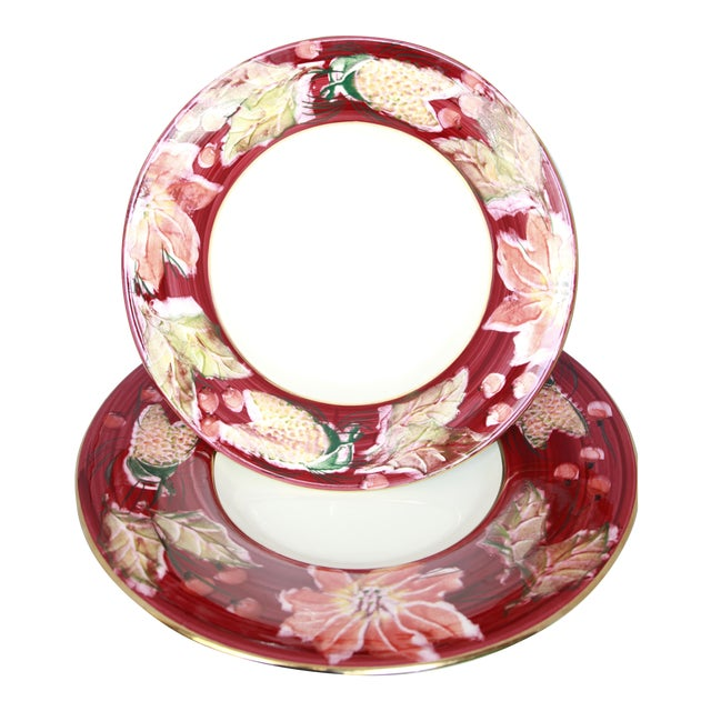 Italian Porcelain Poinsettia Holiday Serving Bowl and Plate For Sale