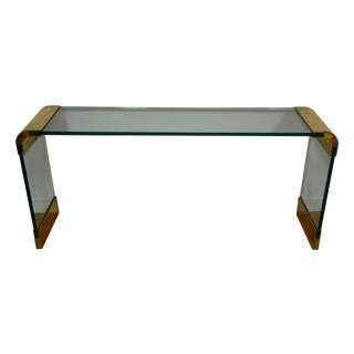 Pace Glass and Brass Modern Sofa Table For Sale