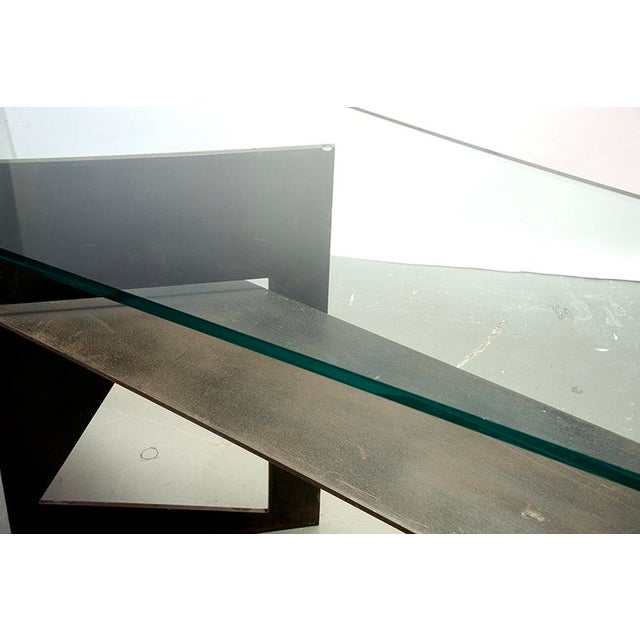 Brutalist Extra Large Brutalist Console with Iron Base and Glass Top For Sale - Image 3 of 9