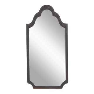 Mahogany Curved Wood Beveled Mirror c1920