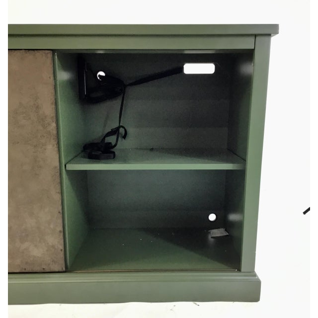 Industrial Green Sliding Door Console For Sale - Image 3 of 7