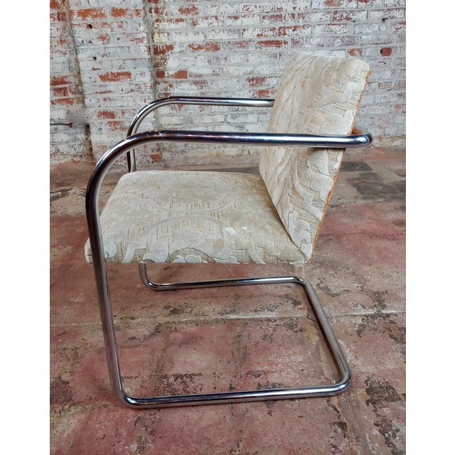 1960s Mies Van Der Rohe Vintage Chrome Arm Chairs - Set of 4 For Sale - Image 5 of 9