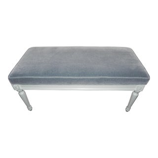 Regency Blue Gray Upholstered Bench For Sale