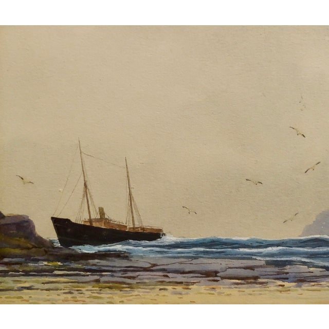 Ethel Turner -Ship Near the English Coast -Watercolor Painting-C1920s For Sale - Image 4 of 9