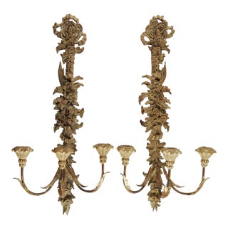 Vintage Italian Palladio Carved Wood Candle Sconces - A Pair For Sale