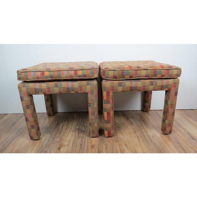 1980s Vintage Multicolor Parsons Stools - a Pair For Sale - Image 10 of 13