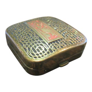 Art Deco Lanchere Flair Brass and Enamel Compact For Sale