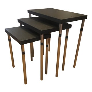 J. Robert Scott Leather & Stainless Nesting Tables - Set of 3