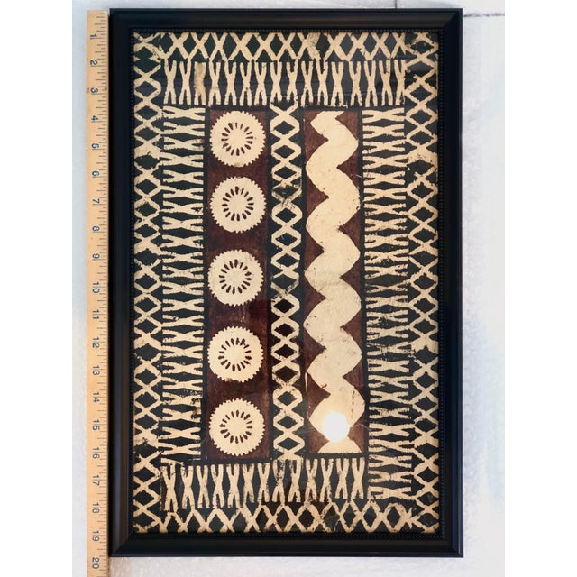 Tribal Framed Tapa Paintings on Bark Paper - a Pair For Sale - Image 3 of 13