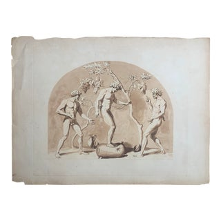 19th Century Italian Print of Dionysus and Grape Vine For Sale