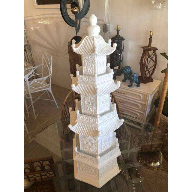 Asian Chinoiserie White Lacquered Pagoda Statue For Sale - Image 3 of 12