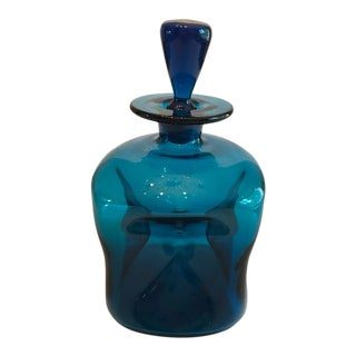 Mid-Century Blenko Pinched Peacock Blue Decanter With Stopper For Sale