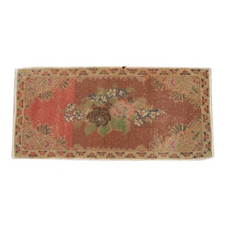 Small Rug Turkish Hand Knotted Bath Mat, Doormat Distressed Low Pile Rug Yastik - 18'' X 38'' For Sale