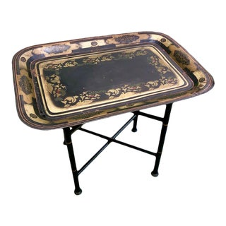 19th Century Early American Stenciled Tole Tray Table For Sale