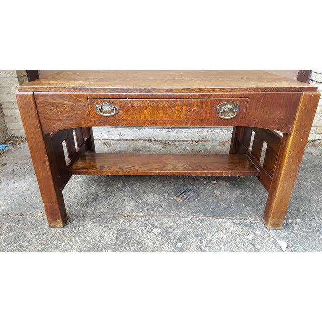 Mission Oak Arts Crafts Library Table Desk C.1900 For Sale - Image 5 of 6