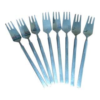 1950s Erik Herlow Obelisk Stainless Steel Salad Forks - Set of 8 For Sale