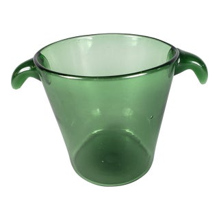1950s Green Glass Ice Bucket For Sale