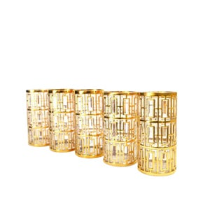1970s Imperial 24kt Shoji Trellis High Ball Glasses - Set of 5 For Sale