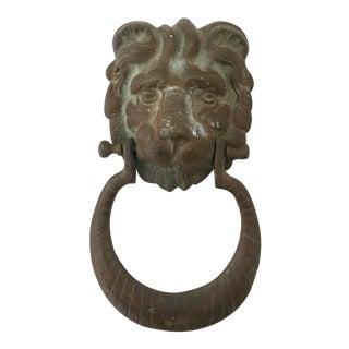 20th Century Neoclassical Monumental Bronze Verdigris Lion Door Knocker