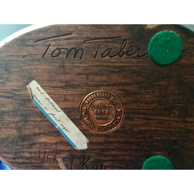 Wood 1982 Vintage Tom Taber Hand Carved Wood Duck Figurine, Signed For Sale - Image 7 of 8
