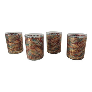 Vintage Set of (4) Feathers Motif Highball Drinking Glasses For Sale