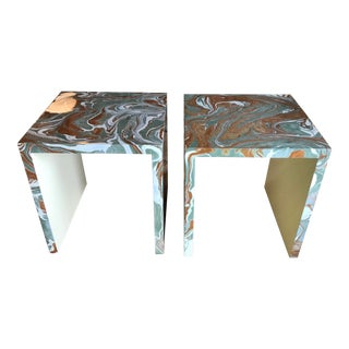 Pop Art Oggetti Parsons Agate Lacquer Marbled Side Tables - a Pair For Sale