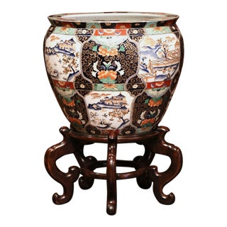 Large Porcelain Chinese Planter on Wood Stand With Avian and Botanical Motifs For Sale