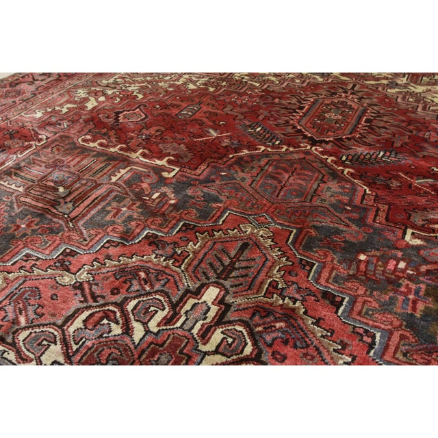 Red Vintage Persian Heriz Rug - 8'1'' X 11'3'' For Sale - Image 8 of 13