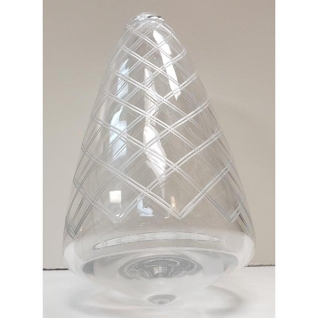 Mid 20th Century Mid 20th Century Italian Cut Glass Diamond Pattern Leaning Vase For Sale - Image 5 of 9