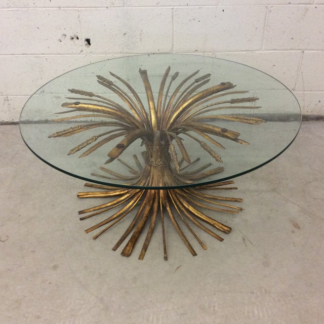 Gold Leaf Sheaf of Wheat Cocktail Table For Sale - Image 10 of 10