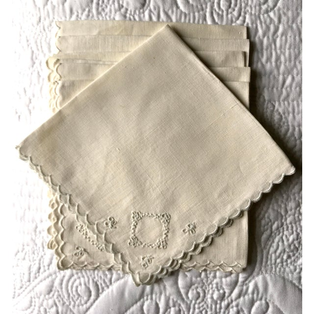 1970s Embroidered Linen Napkins - Set of 10 For Sale - Image 4 of 4