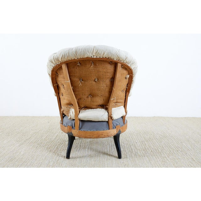 Off-white Pair of French Napoleon III Deconstructed Slipper Chairs For Sale - Image 8 of 13